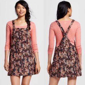 Xhilaration floral corduroy overall mini dress